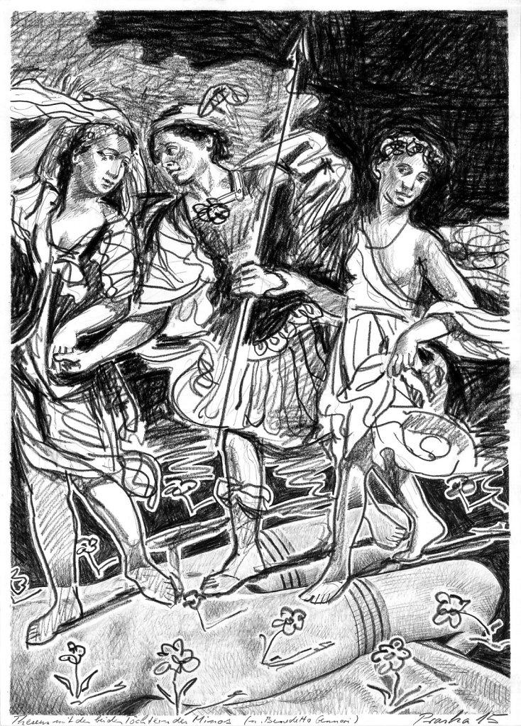 Theseus mit den Töchtern des Minos
