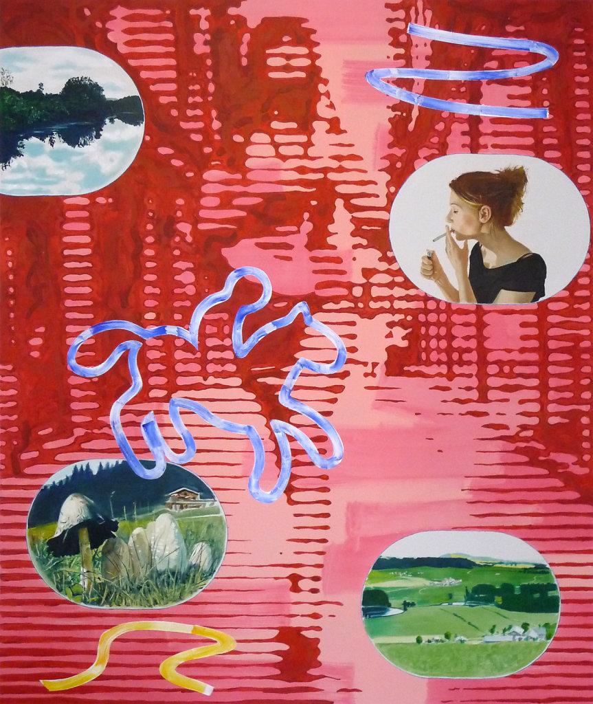 Der Blaue Reiter, die Raucherin und der Schopftintling, 2009, 180 x 150 cm