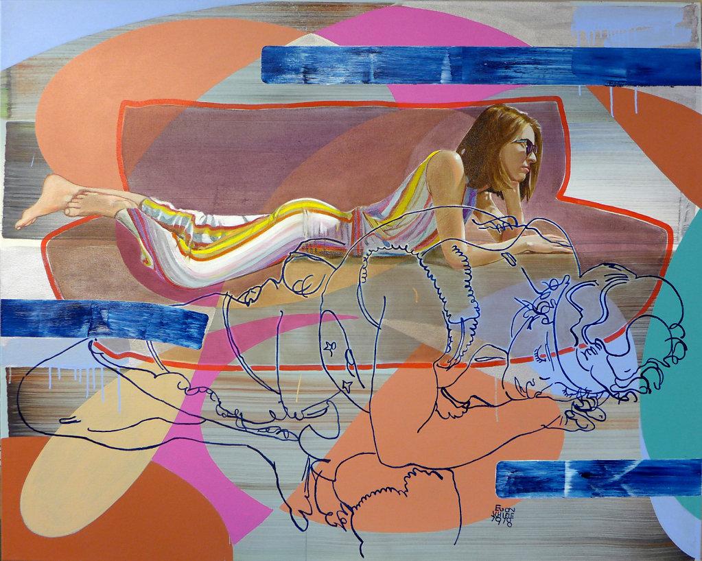 Blaue Balken biegen (Schiele), 2019, 120 x 150 cm