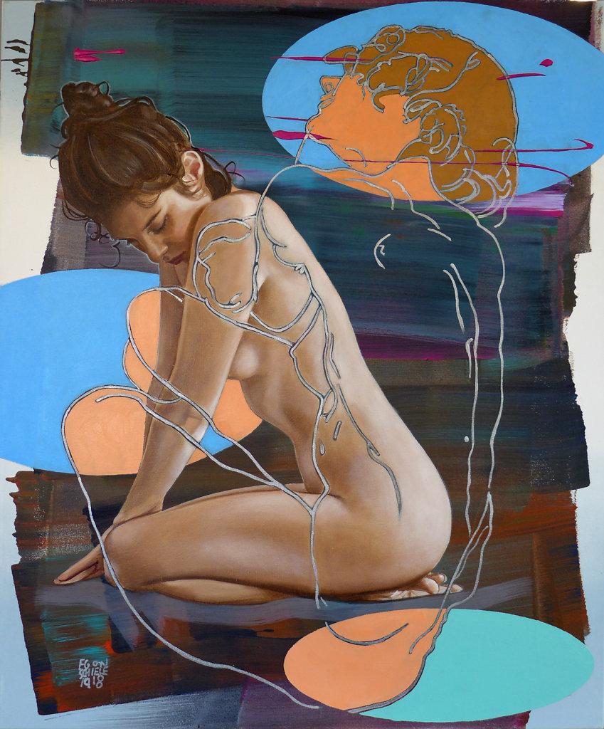 Schiele popped up I , 2019, 120 x 100 cm